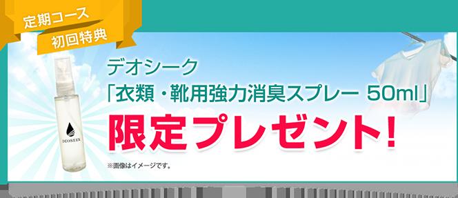 定期コース初回特典 デオシーク「衣類・靴用強力消臭スプレー50ml」限定プレゼント!